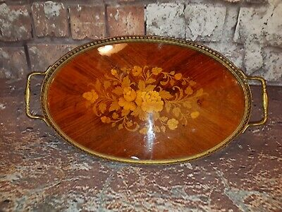 Antique Vintage Brass Wooden Lacquered Marquetry Gallery Serving Tea Tray