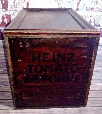 Vintage Industrial Wooden Heinz 57 Tomato Ketchup Advertising Sign Box Crate