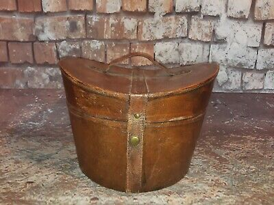 Antique Victorian Brown Leather Wooden Top Hat Carry  Box