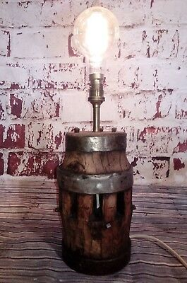 Antique French Old Wagon Cart Wheel Hub Desk Table Light Lamp Steampunk