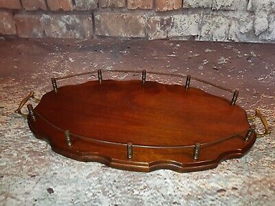 Vintage Antique Edwardian Butlers Servants Wooden Serving Gallery Whisky Tray