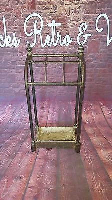 Antique Victorian Edwardian 19th Century Brass Cast Iron Umbrella Stick Stand