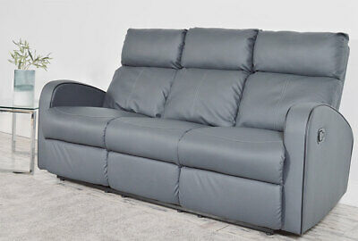 Terrific Clearance Ashby 3 Seater Grey Leather Recliner Sofa Bralicious Painted Fabric Chair Ideas Braliciousco