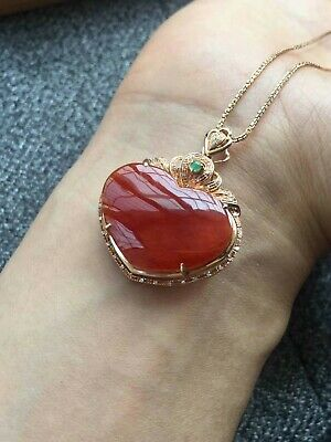 18k Diamond Genuine Natural A Grade Icy Red Jadeite Pendant 18k镶嵌钻石翡翠A货冰种红翡心形吊坠