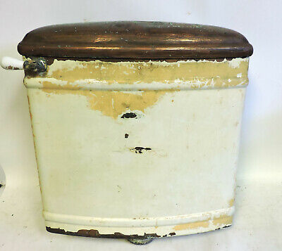 ANTIQUE COPPER TOILET TANK WITH LID W/ Porcelain Flush Handle WHITE COPPER CO.
