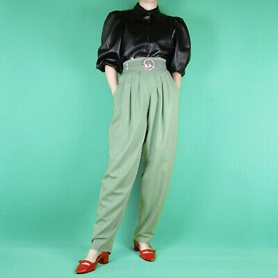 VINTAGE 80s 90s Pastel Green Blue Pleat High Waist Grunge Trousers Pants M 12