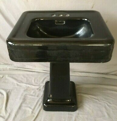 "Antique 24"" Cast Iron Black Porcelain Bath Pedestal Sink Old Vtg Crane 234-19E"