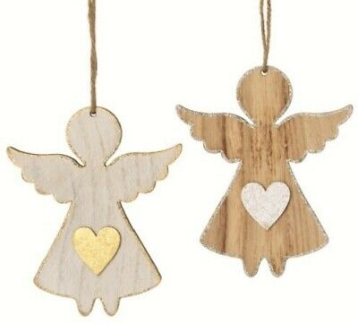 Hanging Angel with Gold / Silver Heart Decoration Shabby ChristmasTree Ornament