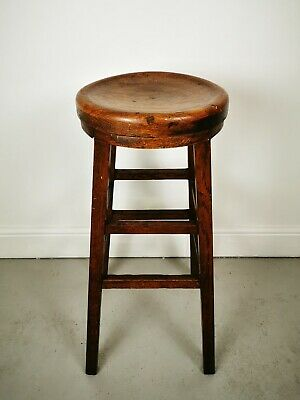 Vintage Antique Early 20th Century Elm Seated Stool