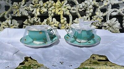 New Cynthia Rowley New York Teal with Gold Dots Set Of 2 Teacups