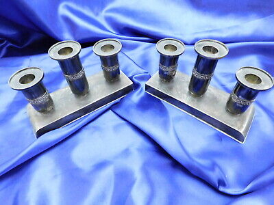 Zeesung Chinese Export Sterling Silver Console Candleholders - Excellent Cond.