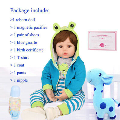 "17"" Reborn Dolls Baby Real Life Like Silicone Boy Newborn Toddler Doll Gift Toy"