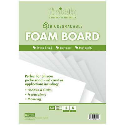 Bio-degradable White Foamboard 5mm A3 Pack of 5