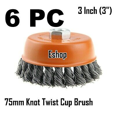 """6PC x 3"""" Wire Cup Brush Wheel for 4-1/2"""" Angle Grinder 5/8-11 Twist Knot Hoteche"""