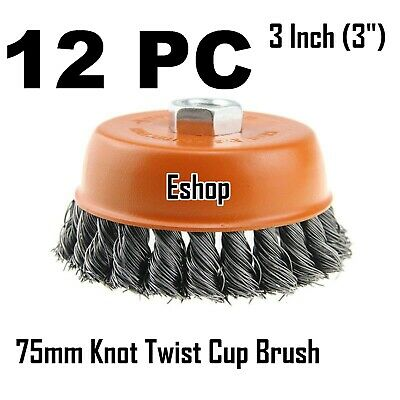 """12PC x 3"""" Wire Cup Brush for 4-1/2"""" Angle Grinder 5/8-11 Twist Knot Hoteche"""