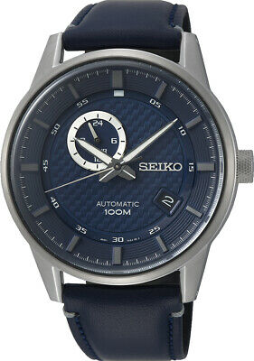 Seiko Automatic Stainless Steel Case Blue Leather Strap Mens Watch SSA391K