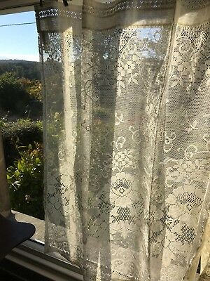 "Laura Ashley Victorian style cotton lace curtain panel 36""by 36"" Victorianna"