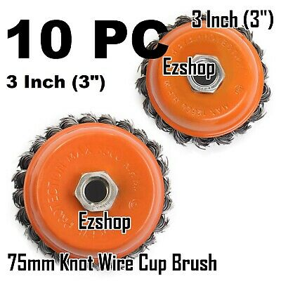 """10 pcs 3"""" x 5/8"""" Knot-Type Fine Wire Cup Brush Fits 4-1/2"""" Angle Grinder"""