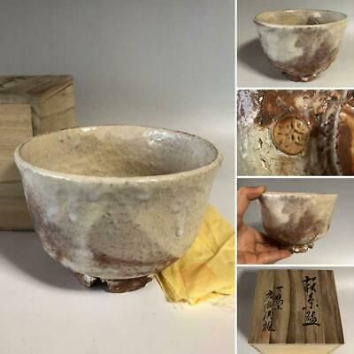 Japanese CHAWAN Tea cup Bowl HAGI-ware tea ceremony w/signed box Antique Vintage