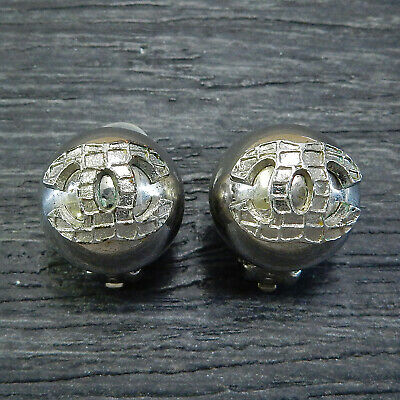 CHANEL Silver Plated CC Logos Vintage Round Clip Earrings #5003a Rise-on
