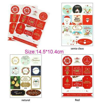 2x MERRY CHRISTMAS Stickers Labels Decorating Present Seals Xmas Envelope Crafts