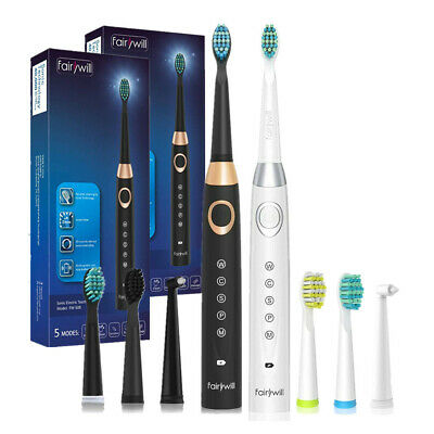 2 Fairywill Sonic Electric Toothbrushes 5 Modes 8 Brush Heads USB Rechargeable