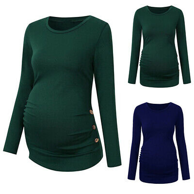 UK Womens Pregnant T-Shirt Loose Tops Long Sleeve Nursing Blouse For Maternity