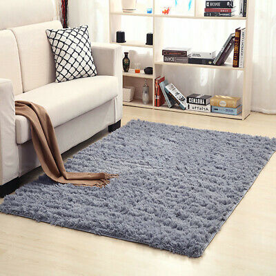 Large Shaggy Fluffy Floor Rug Plain Soft Sparkle Area Mat 5cm Thick Pile Glitter