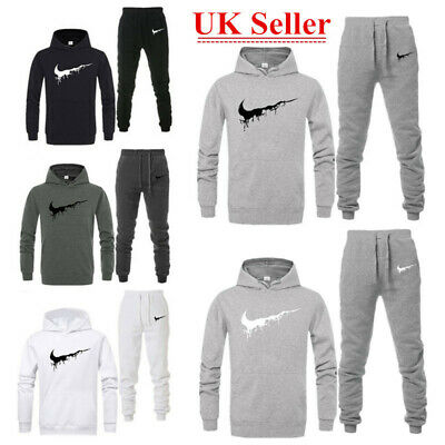 Mens Tracksuit Set Fleece Hoodie Top Bottoms Jogging Joggers Gym Trackies Suit