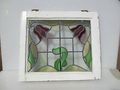 """Victorian Stained Glass Window Panel Architectural Old Art Nouveau Wooden 23x20"""""""