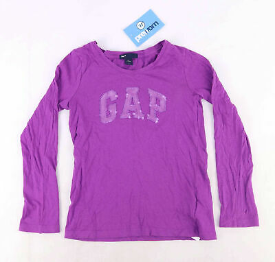 Gap Girls Graphic Purple Bright Sequins Long Sleeve Top Age 6-7