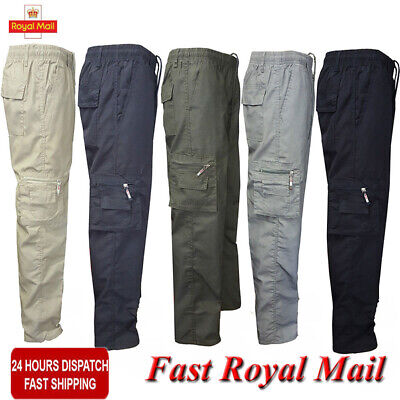 Men Lightweight Elasticated Waist Cargo Trousers Long Combat Work Pants Bottoms