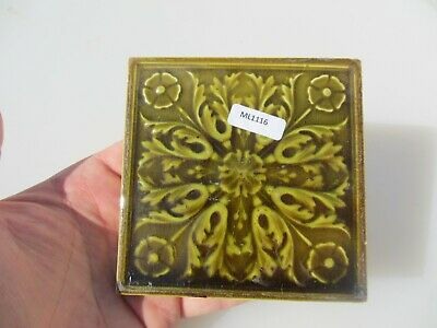 Antique Ceramic Tile Victorian Floral Flower Rococo Art Nouveau Leaf Old 4.25""