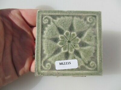 Antique Ceramic Tile Victorian Floral Flower Rococo Art Nouveau Leaf Old 3""