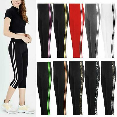 Ladies 3/4 Length Workout Pants Womens Active Black Side Stripe Cropped Leggings