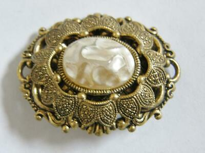 Vintage Art Deco Czech Fresh Water Pearl Baroque Style Brooch Pin