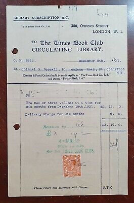 1921 The Times Book Club, 380 Oxford Street Invoice to Colonel Scovell