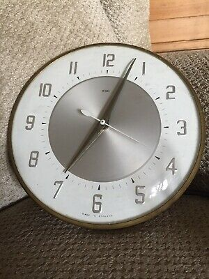 Vintage Retro Brass Gold Metamec Electric Wall Clock Brass Silver Colour