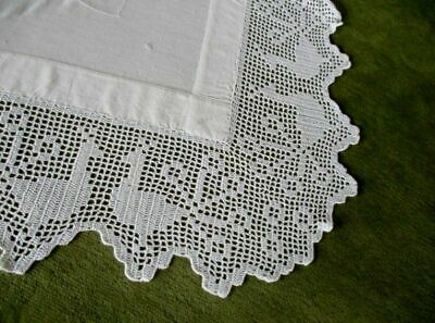 "ANTIQUE TABLECLOTH - HAND CROCHET EDGE & EMBROIDERY-40""sq."