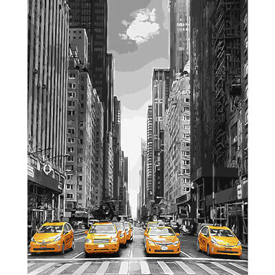 Modern City Avenue Car Hand Painted By Numbers Oil Painting Kit Home Decor