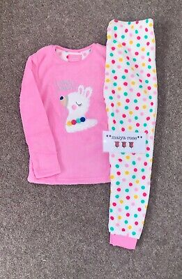 Primark Girls Llama Party Fleece Pyjamas PJs Loungewear Age 6-7 Years Pink White