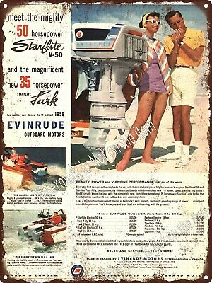 """1958 Canadian Evinrude Outboard Starflite Motor boat Metal Sign 9x12"""" A414"""