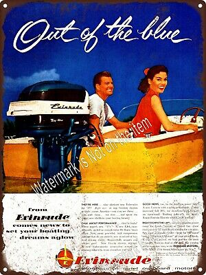 """1956 Evinrude Boat Motors Outboard motorboat lake Couple Metal Sign 9x12"""" A415"""