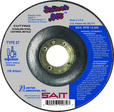 "SAIT Type 27 (42) Saitech 4-1/2"" x 7/8"" Arbor Flat .045 Cutting Wheels QTY 5"