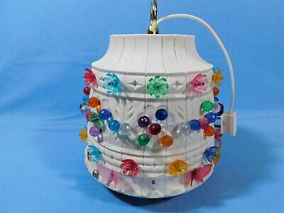 Vintage Lawnware Hanging Swag Lamp RV Patio Camping She Shed Light MCM Colorful