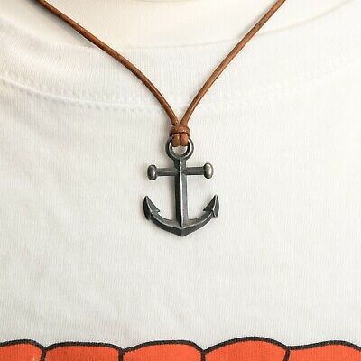 Anchor Pendant Necklace - Genuine Leather Cord and Antiqued Pure Sterling Silver