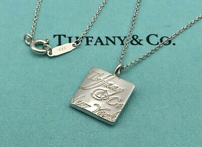 """Tiffany & Co. Necklace Notes Square pendant Sterling Silver 16"""" S67 Authentic"""
