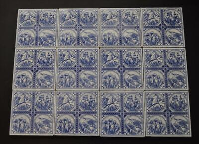 12 Tiles - Antique Minton Hollins Bird Series Sept 1880 - Unused