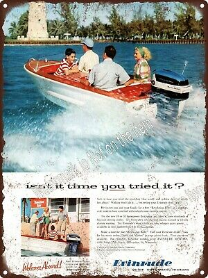 """1957 Evinrude outboard motors speed boat Fishing Metal Sign 9x12"""" A422"""