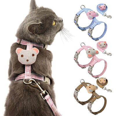 Pink Blue Cat Harness and Leads for Walking Escape Proof Adjustable Kitten Vest